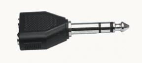 Redukce Jack 6,3mm vidlice stereo / 2x jack 3,5mm zásuvka stereo