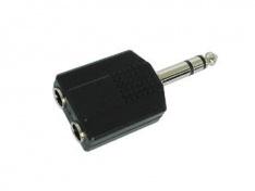 Redukce Jack 6,3 vidlice stereo / 2x Jack 6,3mm zásuvka mono