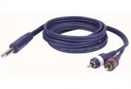 Kabel Jack 6,3 mm stereo - 2x RCA, délka 3 m